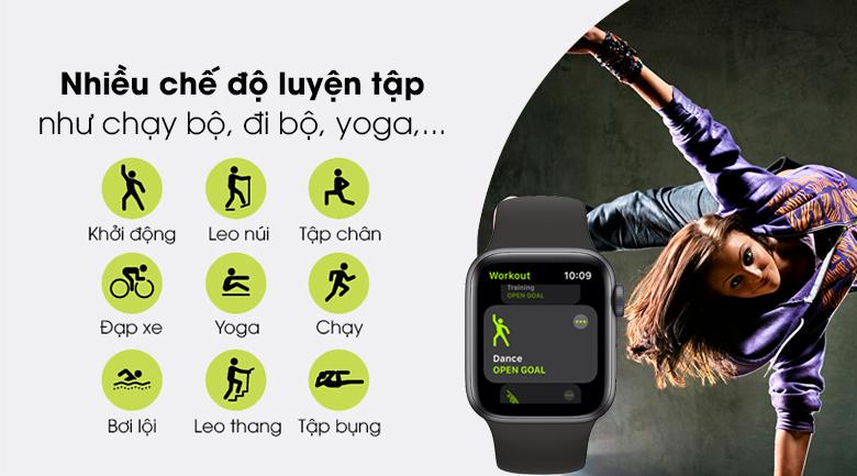 Apple Watch SE LTE 40mm viền nhôm dây cao su có nhiều chế độ luyện tập