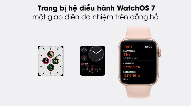 Apple Watch SE LTE 44mm viền nhôm dây cao su có hệ điều hành tối ưu