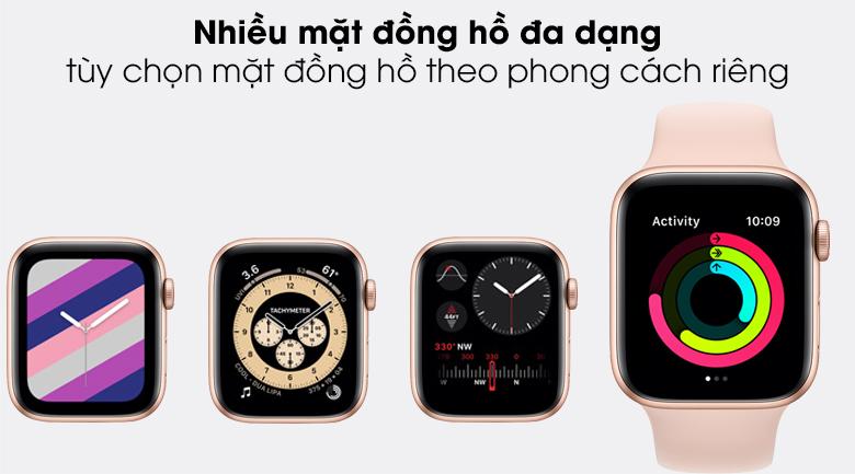 Apple Watch SE LTE 44mm viền nhôm dây cao su có nhiều mặt đồng hồ cho người dùng tùy chọn