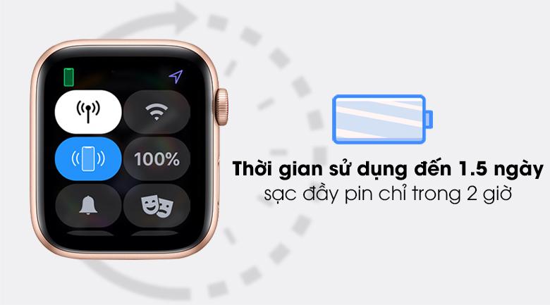 Apple Watch SE LTE 44mm viền nhôm dây cao su có thời lượng pin lớn