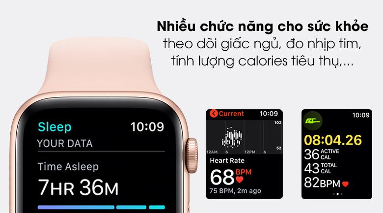 Apple Watch SE LTE 44mm viền nhôm dây cao su có nhiều tính năng hỗ trợ sức khỏe