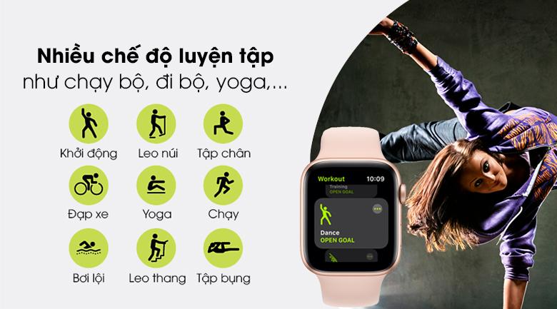 Apple Watch SE LTE 44mm viền nhôm dây cao su có nhiều chế độ luyện tập