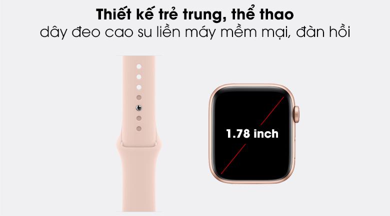 Apple Watch SE LTE 44mm viền nhôm dây cao su có thiết kế thời trang