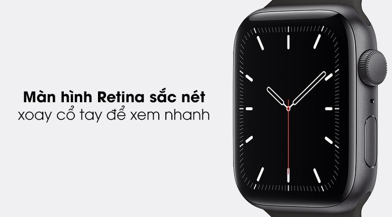 Apple Watch SE 44mm viền nhôm dây cao su có màn hình sắc nét và mặt kính chống va đập