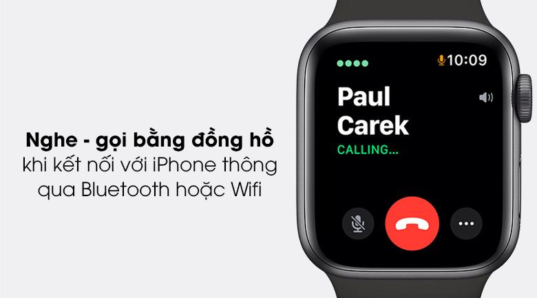 Apple Watch SE 44mm viền nhôm dây cao su kết nối với điện thoại giúp nghe gọi dễ dàng hơn