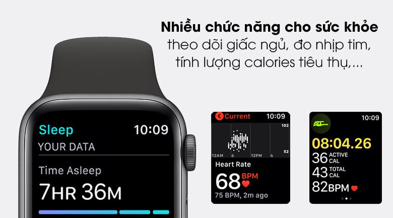 Apple Watch SE 44mm viền nhôm dây cao su giúp theo dõi tình trạng sức khỏe liên tục
